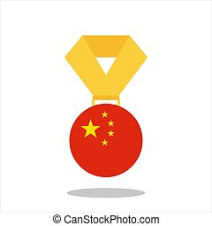 Medal with the China flag isolated on white background - vector illustration