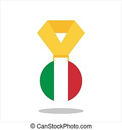 Medal with the Italy flag isolated on white background - vector illustration