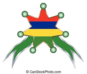 medal with the national flag of Mauritius.