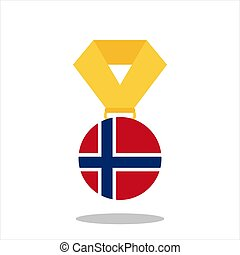 Medal with the Norway flag isolated on white background - vector illustration