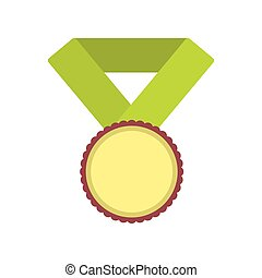Medal with yellow ribbon flat icon