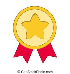 medalha, ícone, em, trendy, apartamento, estilo, isolated., medalha, símbolo, para, seu, web site, desenho, logotipo, app, ui