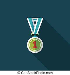 medalha, apartamento, ícone, com, longo, sombra