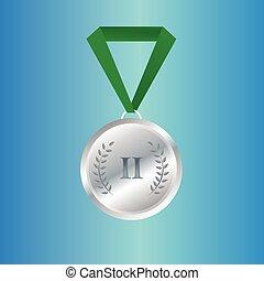 medalha, campeão, fita, prata