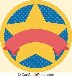 medalha, com, estrela, e, fita vermelha, modelo, isolado, ligado, fundo amarelo