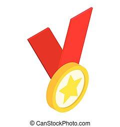 medalha, com, estrela, ligado, um, fita vermelha, isometric, 3d, ícone