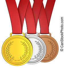 medalha, fita vermelha