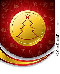 medalha, forma, árvore, natal, ouro