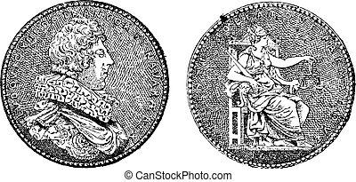 medalha, mostrando, rei, louis, xiii, de, frança, vindima,...