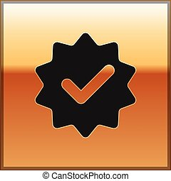medalha ouro, aprovado, isolado, ilustração, ou, experiência., vetorial, pretas, marca, fitas, cheque, certificado, ícone