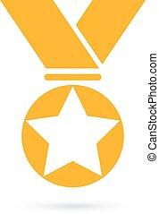medalha, ouro, distinção, ícone