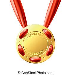 medalha ouro, fita vermelha