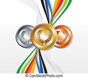 medalha, ouro, fundo, fitas, prata, bronze