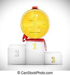 medalha ouro, ligado, pedestal, de, winners.