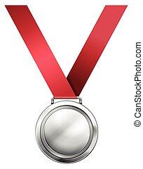 medalha, prata, fita, vermelho