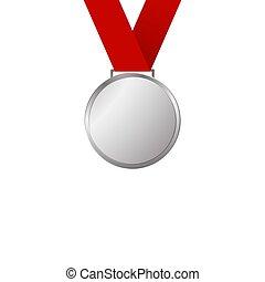 medalha, prata, fita