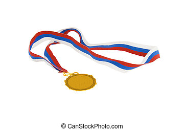 medalha, tricolor, fita ouro