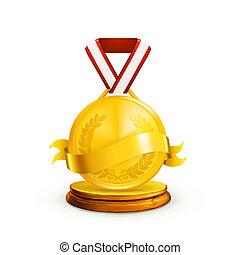 medalha, vetorial, ouro