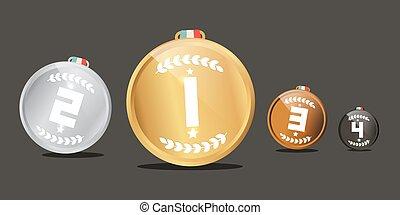 medalhas, set., vetorial, recompensas, isolado, ligado, escuro, experiência.