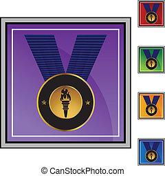 medalj, guld