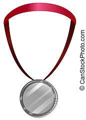 medalje, halsen, rød, snørebånd