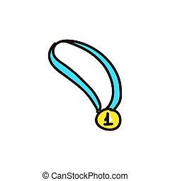 medalje, lejlighed, guld, firmanavnet, vektor, cartoon,...