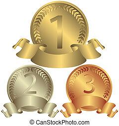 medaljer, silver, brons, (vector), guld