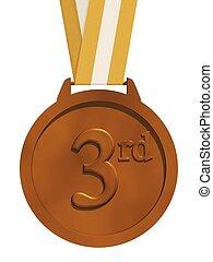 medalla, aislado, bronce
