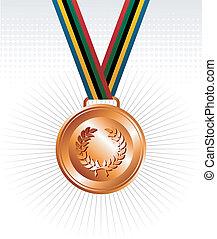 medalla, cintas, bronce, plano de fondo