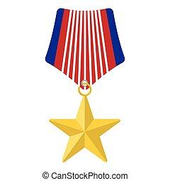 medalla, con, estrella, caricatura, icono
