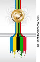 medalla, olímpico, bandera, juegos, oro