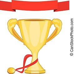 medalla, taza, dorado, campeón