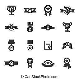 medalla, un, icono