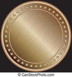 medalla, vector, bronce