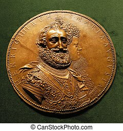 Medallion of Henri IV le Grand with Marie de Medici -...