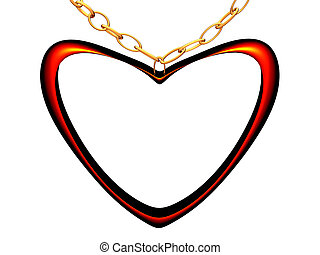 Medallion on a chain in the form of red heart.