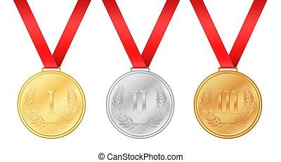 medals., オリンピック, medal., 葉, 金, award., 3, 選手権, ゲーム, 月桂樹, 銀, 銅