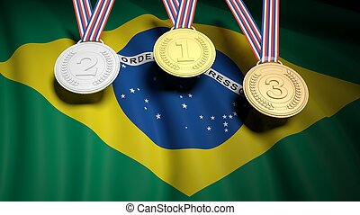 Medals against of Brazil national flag - Three winner medals...