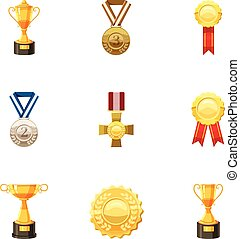Medals and awards icons set, cartoon style