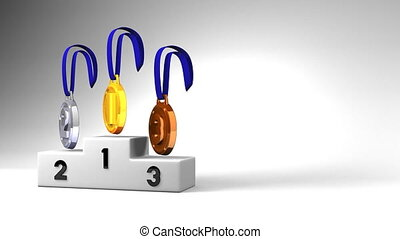 Medals And Podium On White Text Space. Loopable 3D render...