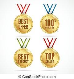 medals., concept, ensemble, vente, vector.