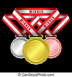 Medals - gold, silver and bronze