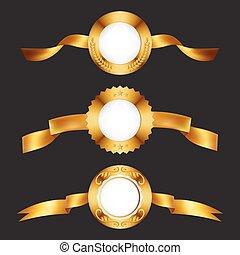 medals., goud, gouden, metaal, ribbons., kentekens