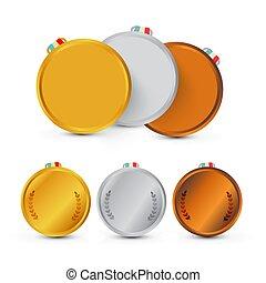 medals., isolé, or, arrière-plan., vecteur, récompenses, blanc, argent, bronze