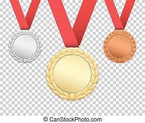 medals., jogo, três