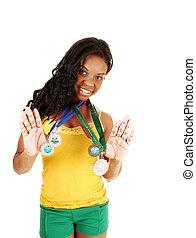 medals., menina, dela