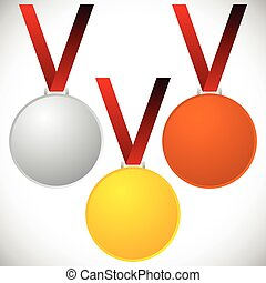 Medals on neckband - Gold silver bronze medals, awards