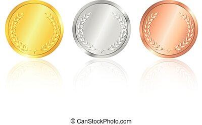 medals., or, argent, bronze