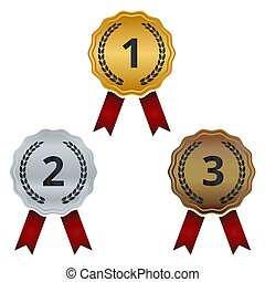 medals., satz, silber, bronze, gold