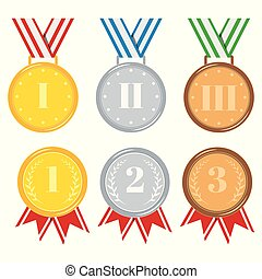 Medals set isolated on white background golden, silver, bronze.